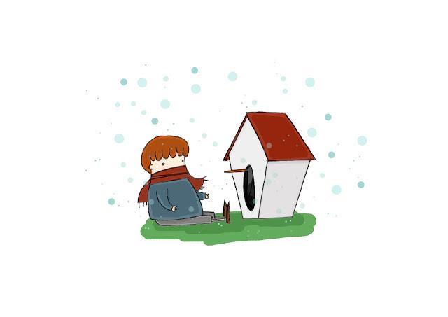 cade la neve su un bimbo e la sua casetta per gli uccelli