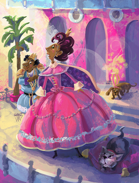 children's fantasy art of a Queen and King with their pets by Traci Van Wagoner