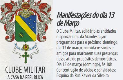 categoria militar convidada para os protestos em 13 de março