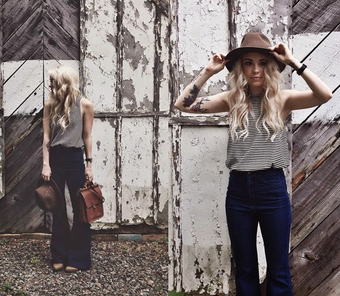 Wearing a Flared-Wide Leg High Waisted Jeans with Striped Top and Hat