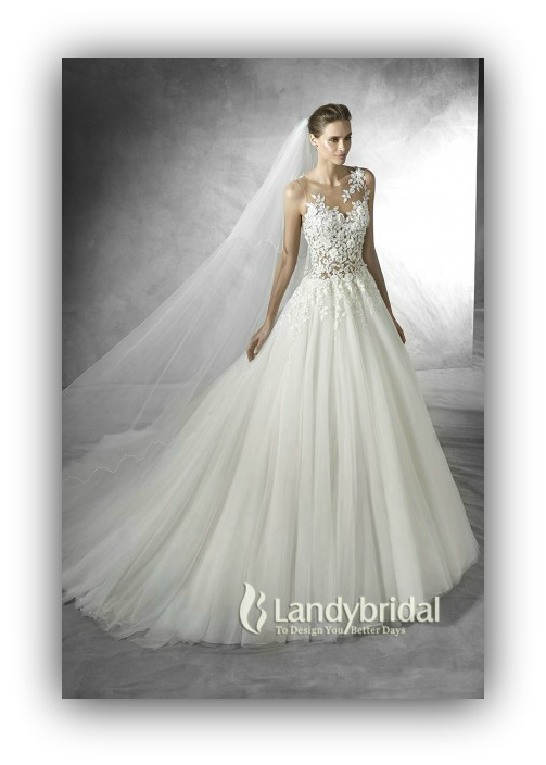luxurious-illusion-natural-train-tulle-ivory-sleeveless-wedding-dress-with-appliques