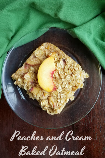 A fun breakfast that is loaded with peaches and cream flavor, this baked oatmeal recipe is perfect for guests or as a make ahead quick breakfast during the week!