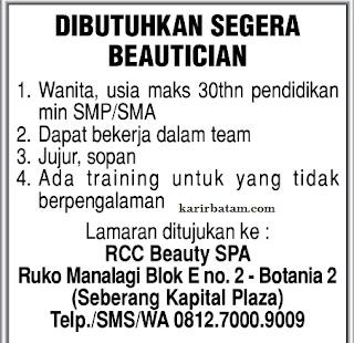 Lowongan Kerja RCC Beauty SPA