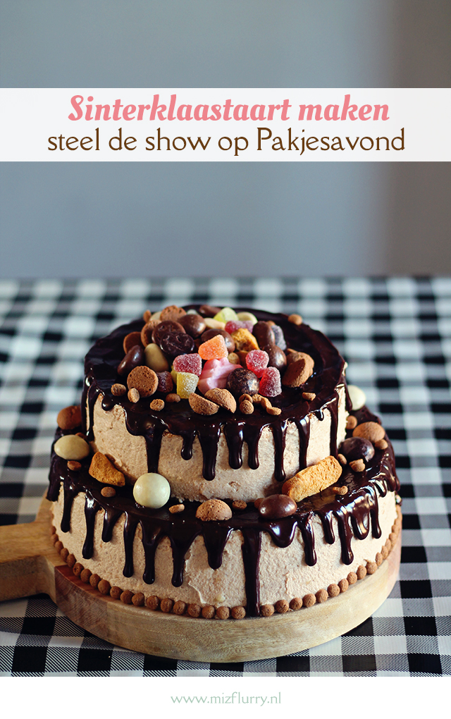 Steel de show met dit Sinterklaastaart recept. Je kunt gewoon zelf deze dripcake Sinterklaastaart met speculaascrème en chocola maken.