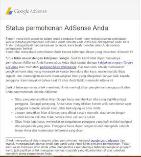 Penolakan Google adsense karena Situs tidak memadai