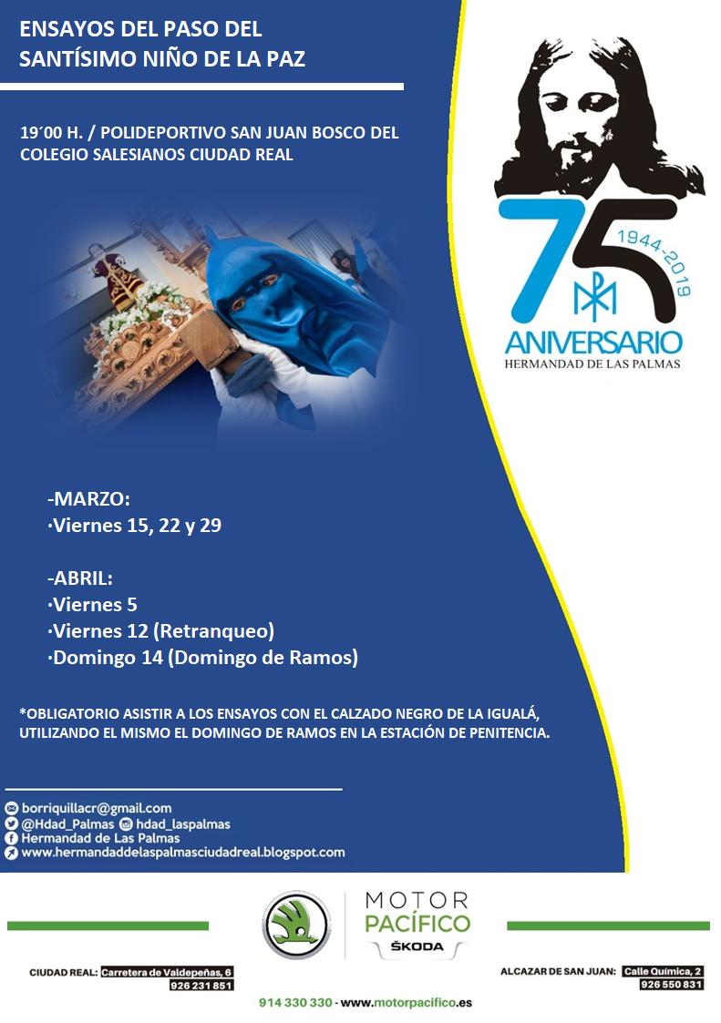 Calendario Palmas.Hermandad De Las Palmas Ciudad Real Calendario De Ensayos