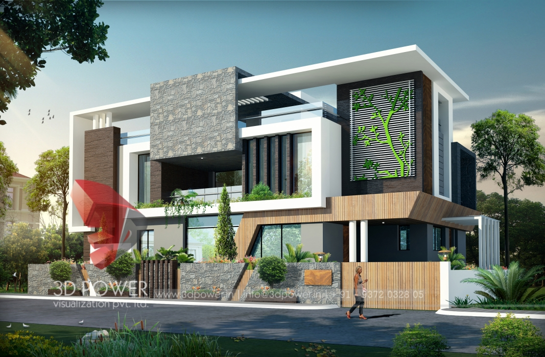 3d architectural villa rendering home design simple for Home architecture and design