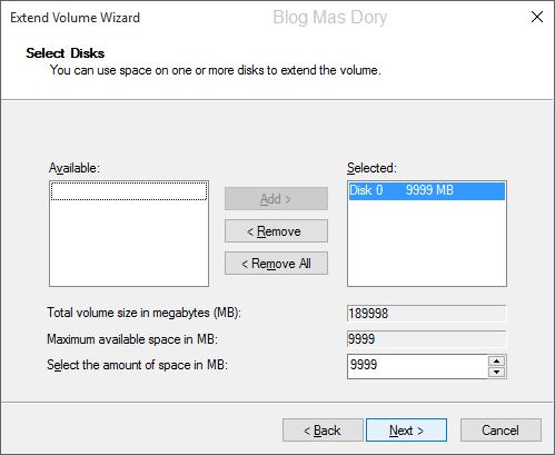 Extend volume wizard, select disk, klik next, Blog Mas Dory
