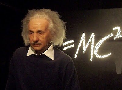 Portrait of Einstein and his formula e=mc2