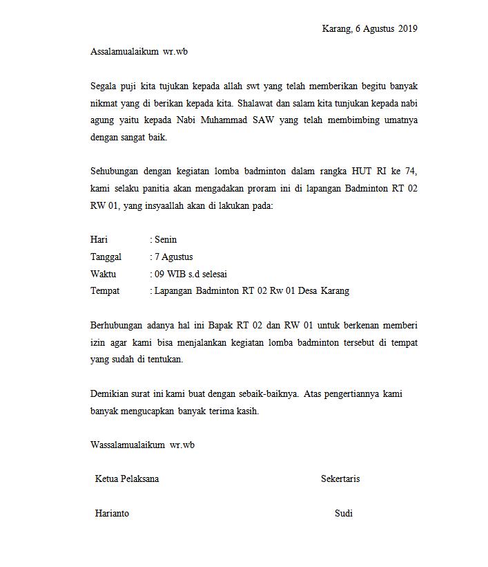 Abizar Al Khalifi Suwarno Contoh Surat Ijin