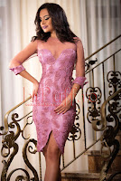 Rochie midi de seara din dantela lila 3D