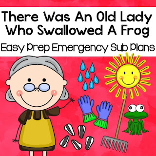 There Was An Old Lady Who Swallowed A Frog Easy Prep Sub Plans
