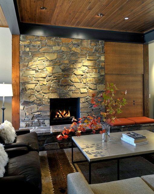 25 Gorgeous Living Rooms with Stone Walls - Decor Units