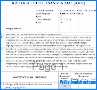KKM Bahasa Indonesia Kelas 12 Kurikulum 2013 Revisi 2018
