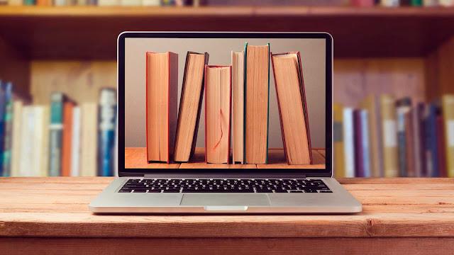 |Imágen de libros en computadora