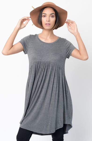 Shop for Charcoal Tee tunic dress  u neck and a full skirt  Online - $44 - on caralase.com
