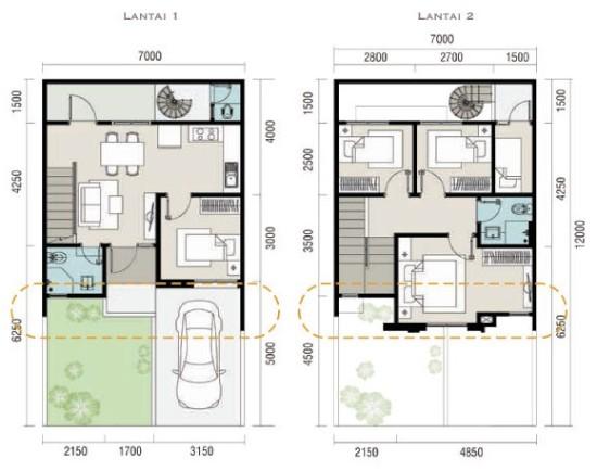 Denah rumah minimalis ukuran 7x12 meter 5 kamar tidur 2 lantai