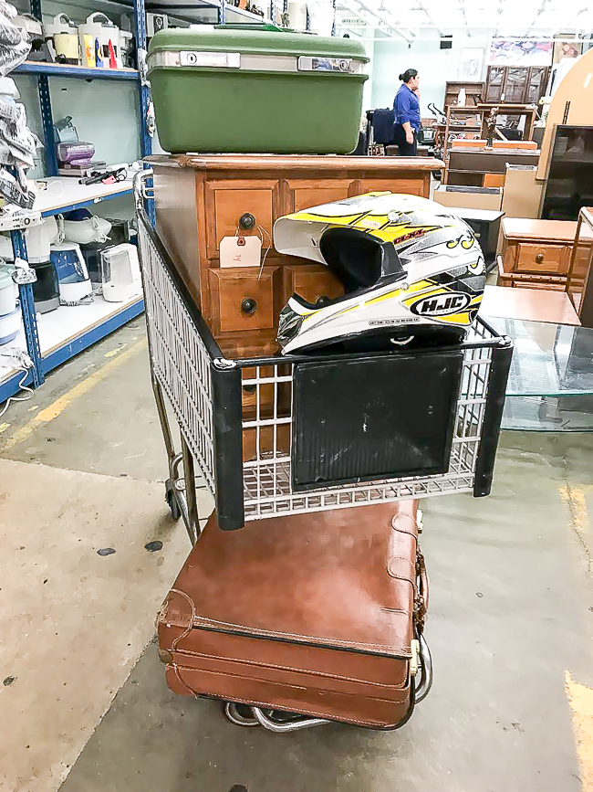 Thrift store suitcases