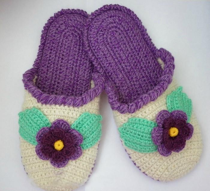 e83c411a01221 طريقة عمل حذاء منزلي بخيوط الصوف كروشيه خطوة بخطوة HandMade crochet