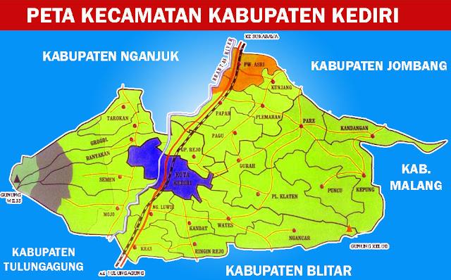 Gambar Peta Kecamatan Kabupaten Kediri