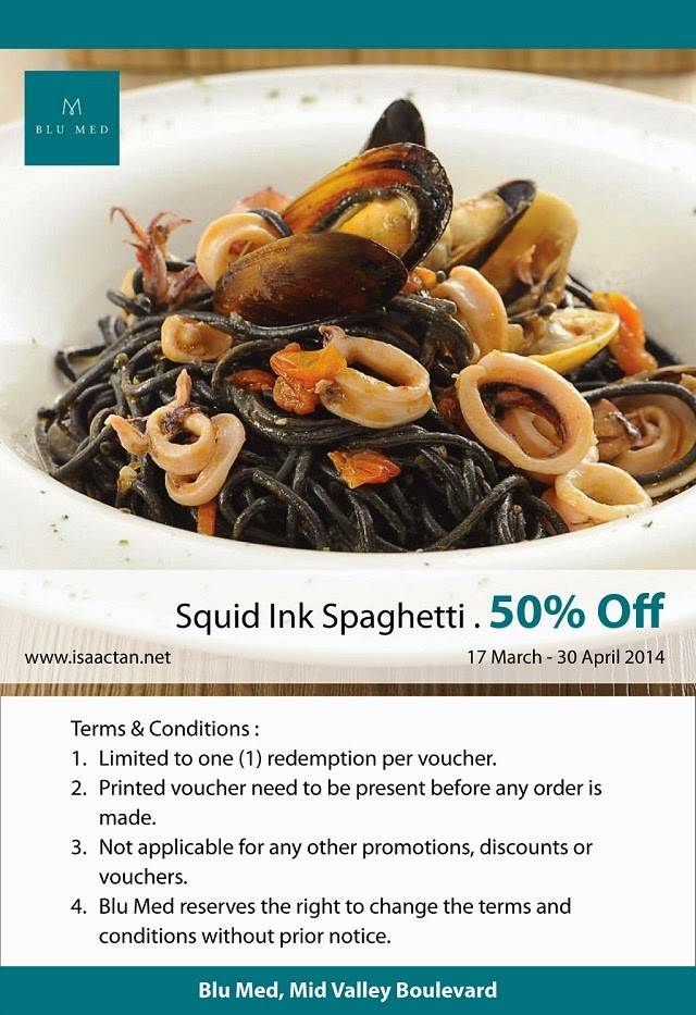 Get 50% off the Squid Ink Spaghetti when you print this out and show Blu Med!