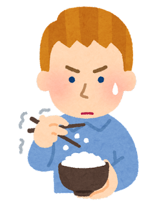 箸でご飯を食べるのが下手な外国人のイラスト(男性)