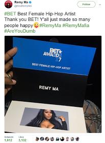 Remy Ma dethrones Nicki Minaj to win Best female Hip Hop artist award