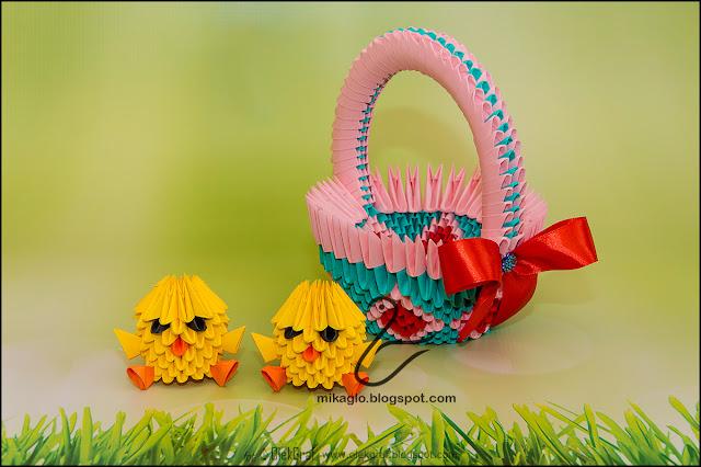 406. Różowy koszyczek z kurczakami / 3d origami pink basket