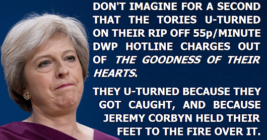 Don't imagine the Tories dropped their rip-off DWP charges out of the goodness of their hearts