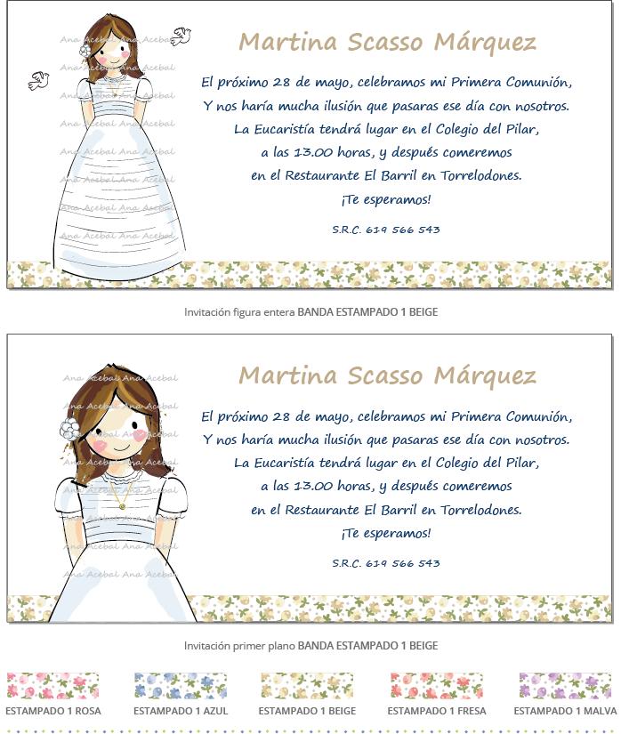 Invitacion comunion personalizada original niña