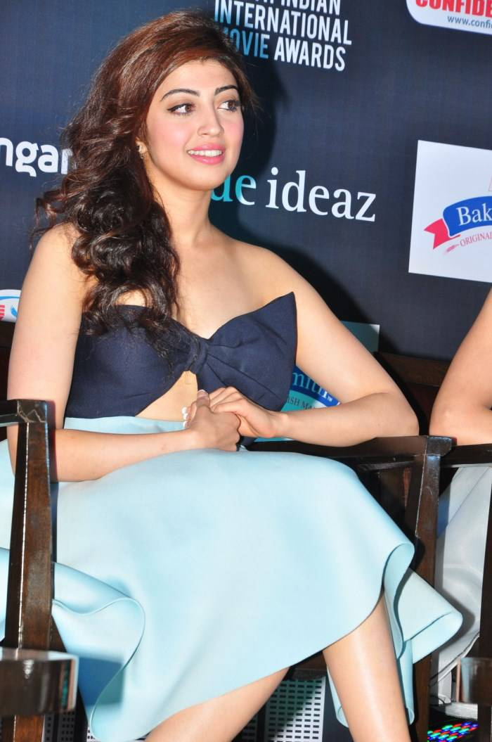Tollywood Actress Pranitha Hot Stills In Blue Top