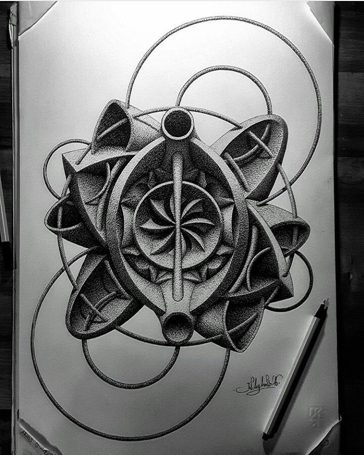 09-in-my-mind-art-Complex-Geometric-shapes-in-Ink-Stippling-Drawings-www-designstack-co