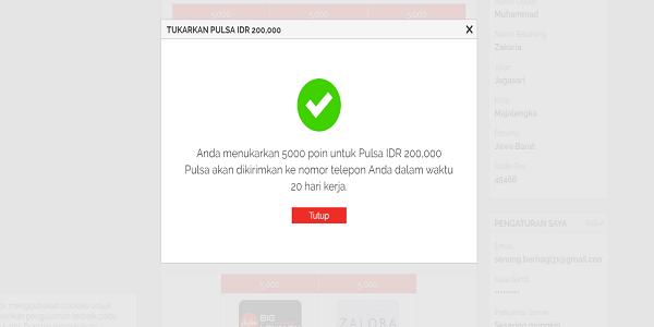 Penukaran poin Yougov dengan pulsa Rp200.000