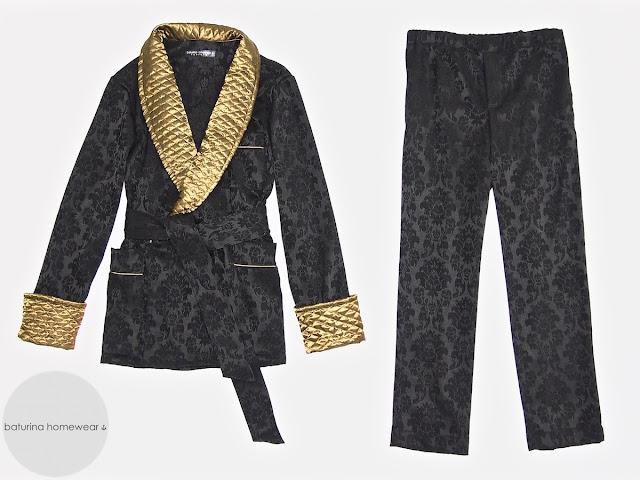 Herren Morgenmantel Hausjacke elegant edel Pyjama Hausmantel Schwarz Gold Seide Baumwolle warm