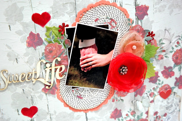 Sweet Life Wedding Layout Focal Point Closeup by Dana Tatar for FabScraps
