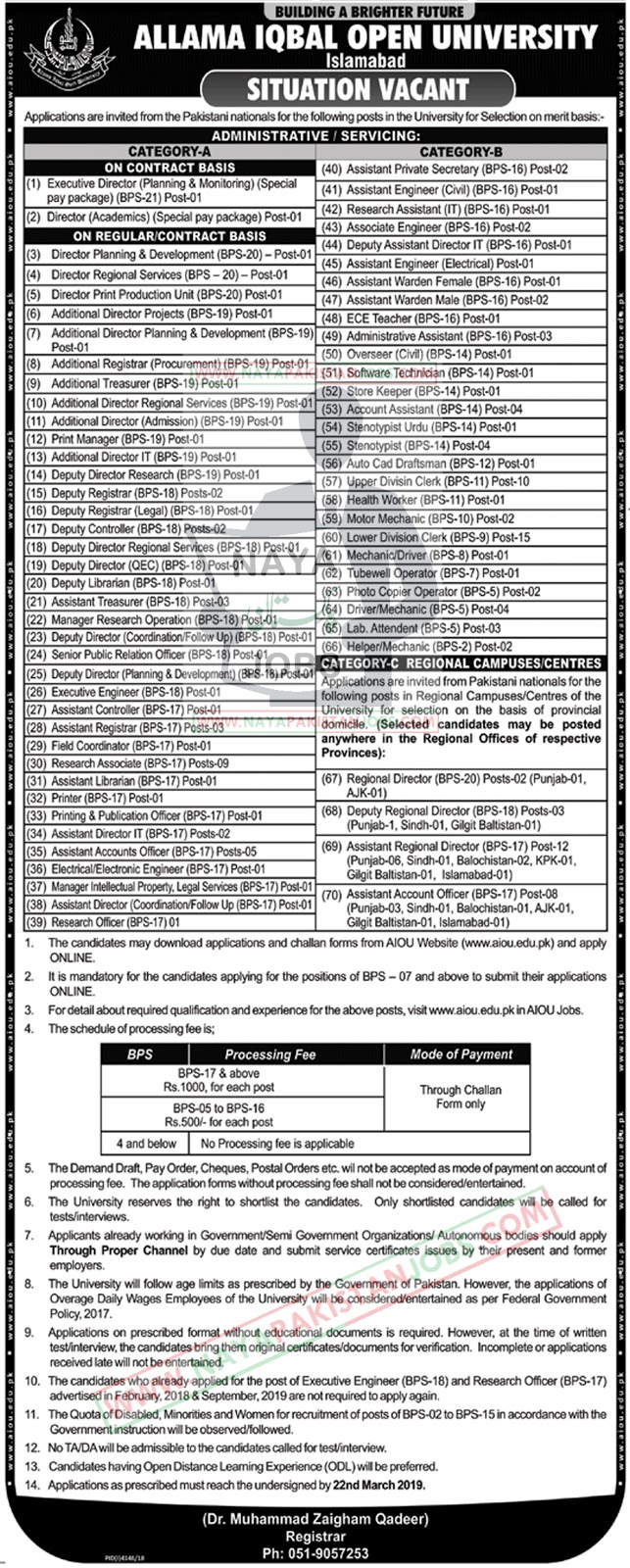 aiou application form 2019, aiou jobs 2019 application form,Allama Iqbal Open University AIOU Jobs 2019 March