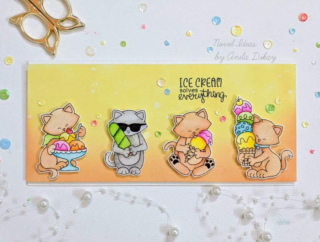 Fan Feature Week - Day 1 | Ice cream cat card using Newton's Summer Treats Stamp Set by Newton's Nook Designs #newtonsnook #handmade