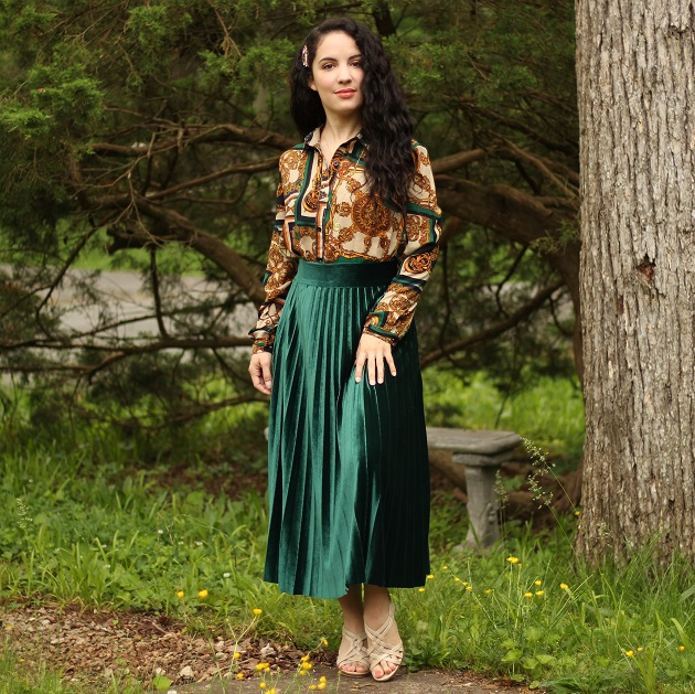 Shein Green Velvet Skirt and Scarf Print Blouse