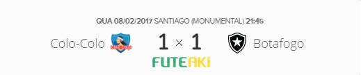 O placar de Colo-Colo-CHI 1x1 Botafogo pela Segunda Fase da Libertadores 2017