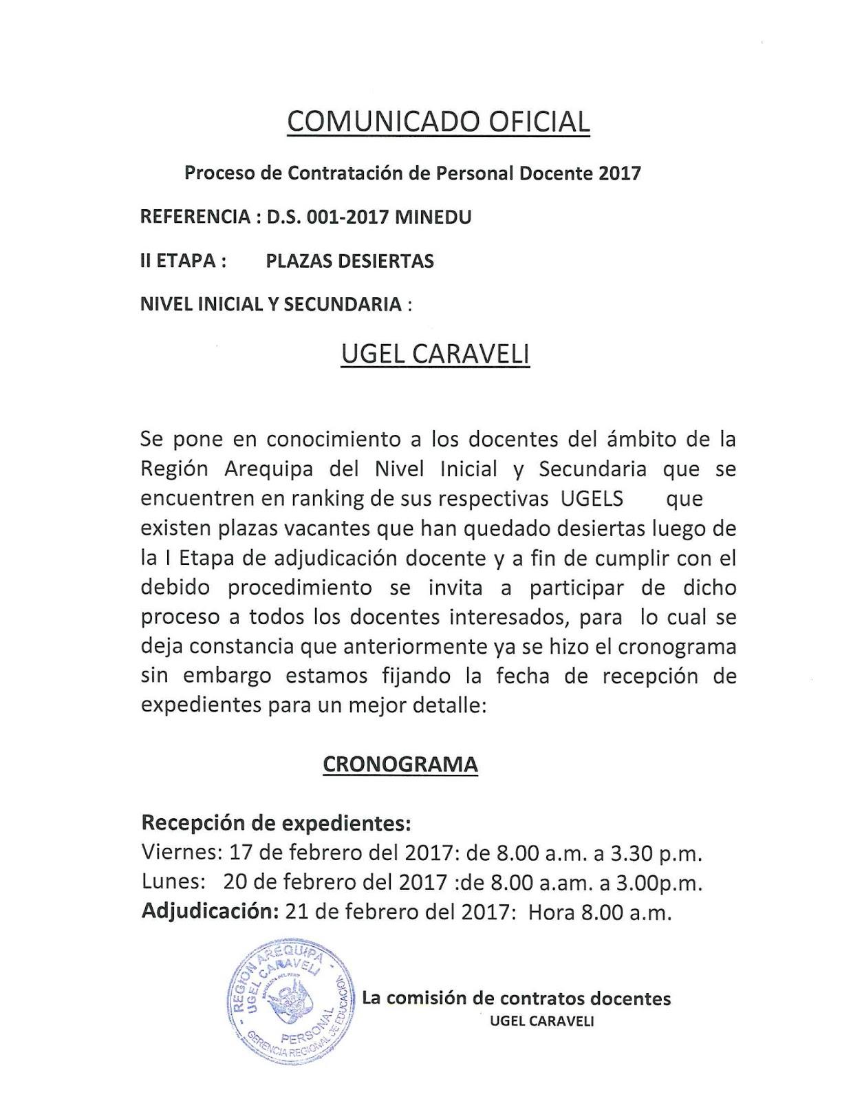 Comunicado oficial proceso de contrataci n docente 2017 for Convocatoria de plazas docentes 2017