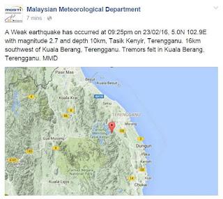 Gempa Bumi Landa Terengganu