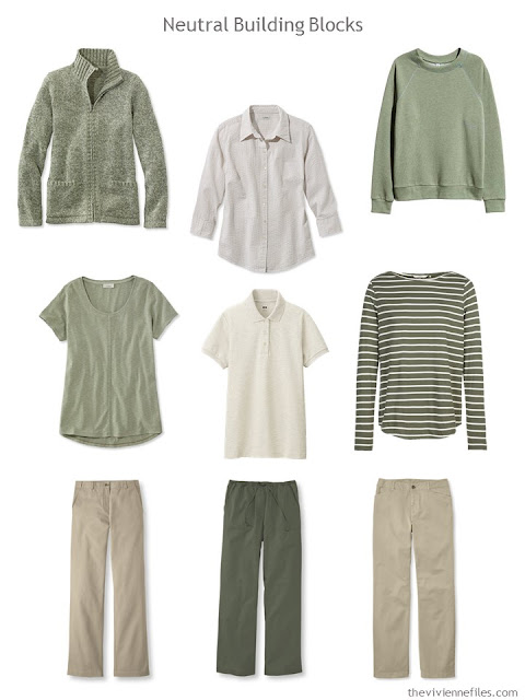 nine Neutral Building Blocks in beige and olive green for warmer weather