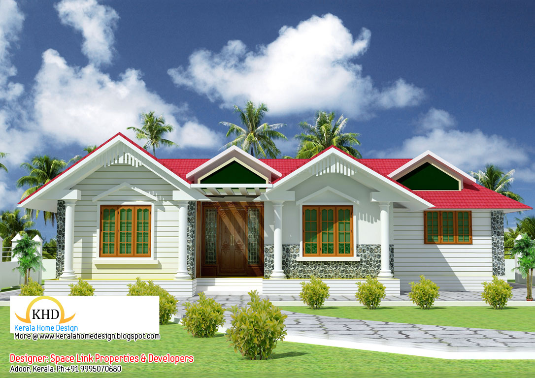 Beautiful single floor house elevation and plan 1070 sq for Kerala 3d home floor plans