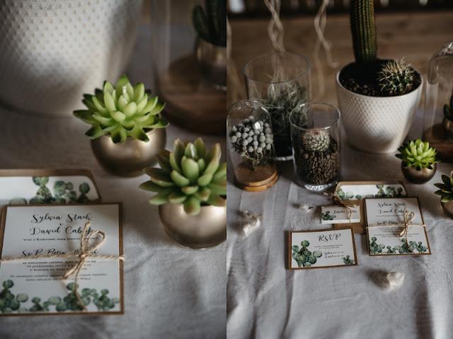 Poligrafia ślubna z motywem kaktusów.