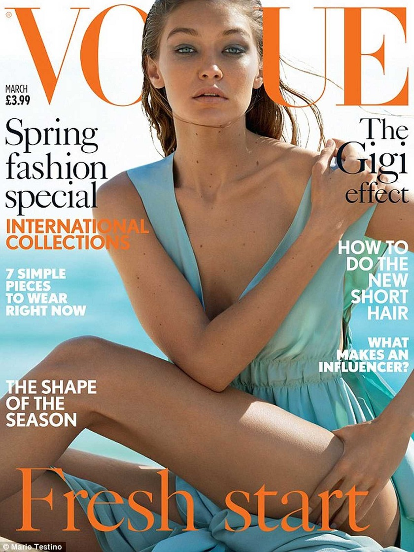 Gigi Hadid smoulders as she covers Vogue UK March 2017