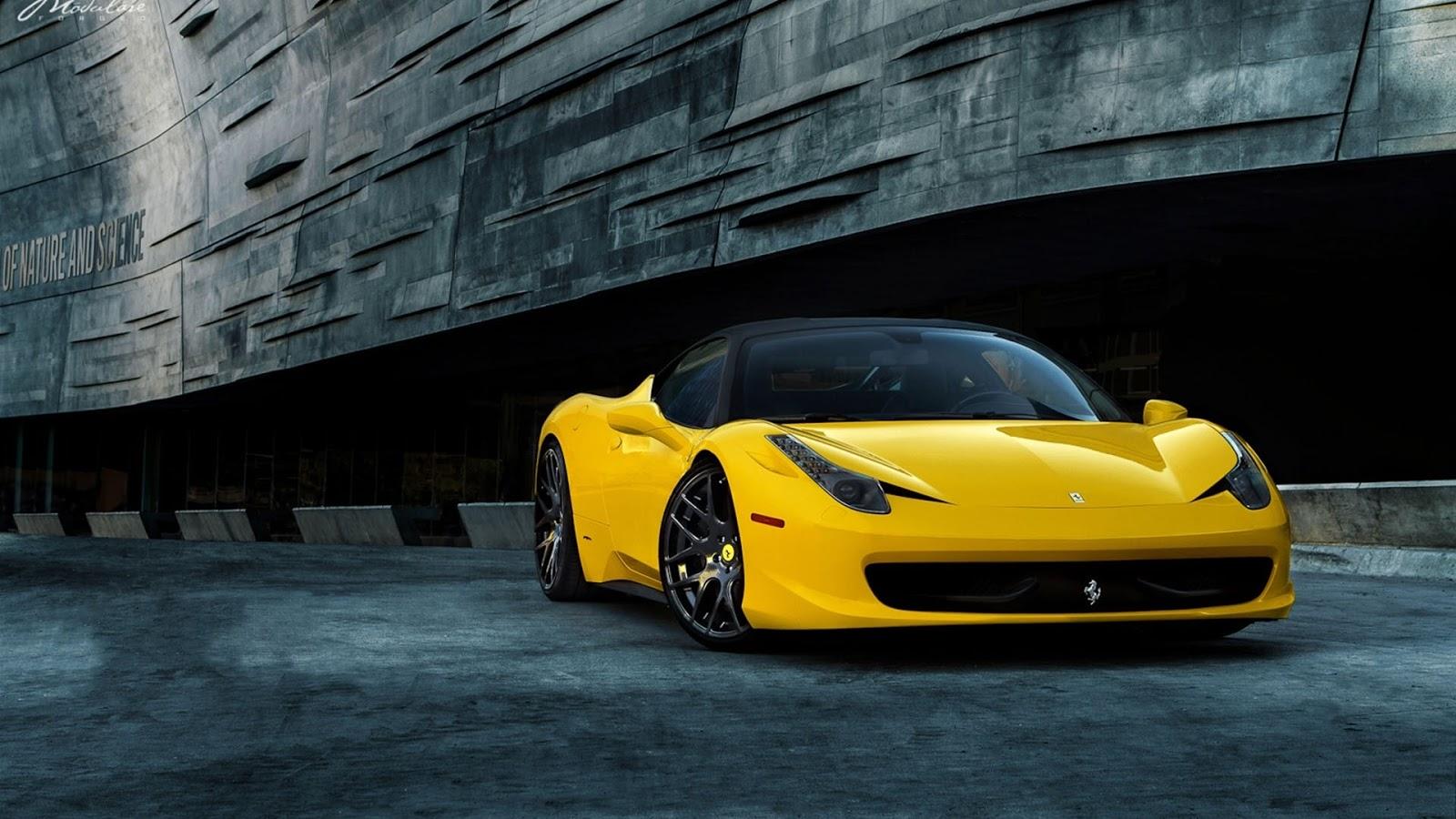 Auto Galeria: Żółte ferrari 458, tapety, samochody, sportowe