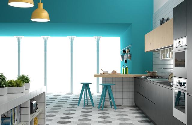 kiểu nhà bếp màu xanh dương quá đẹp