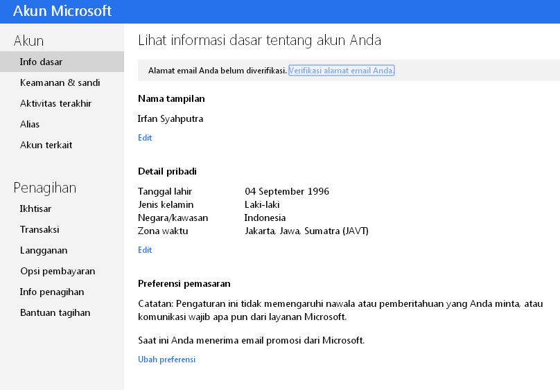 Data pribadi yang sudah didaftarkan pada proses pendaftaran Akun Microsoft