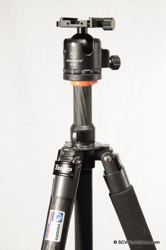 Triopo GX-1328 + Sunwayfoto XB-44 LP Ball Head - center column raised