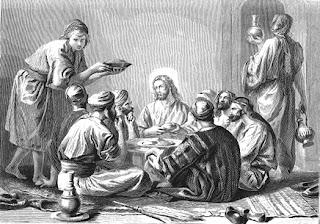 Resultado de imagen para Mateo 9,10: Jesús se sienta en la mesa con los pecadores y los publicanos